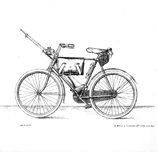 """British Army bicycle as depicted in """"Cyclist Drill 1900"""" issued with Army Orders dated 1st September 1900"""