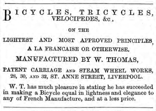 Bicycle advert from page 8 of  the 9 April 1869 issue of Welsh newspaper, Tyst Cymreig