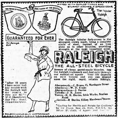 Raleigh advert from the pages of the Cambrian News and Merionethshire Standard, 17 October 1919