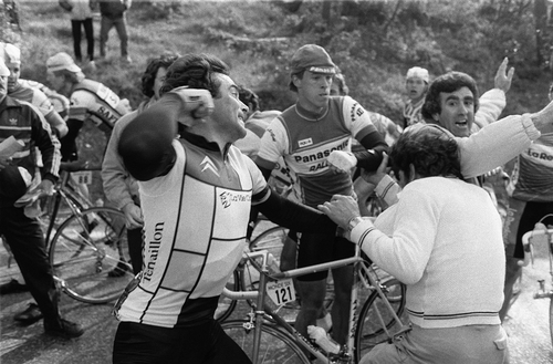 Bernard Hinault throws a punch in the 1984 Paris-Nice