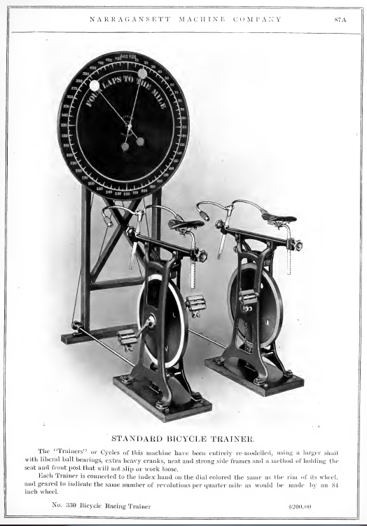 Advert for the Standard Cycle Trainer from the Narragansett Machine Co.