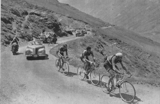 Fausto Coppi leads Raphael Géminiani and Hugo Koblet on the Col de Tourmalet, Stage 14  Tour de France, 1951