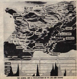 The 1951 Tour de France Route Map