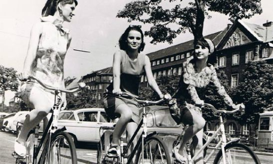 Women cycling in Denmark, 1960's