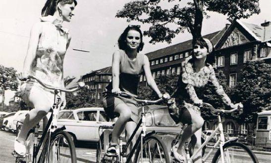 Women cycling in Denmark, 1960's