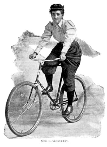 "Annie ""Londonderry"" Kopchovsky was the first woman to cycle round the world and an advocate of rational dress"