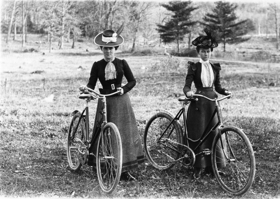Two women stop during a bicycle ride around the Schenectady area, circa 1900