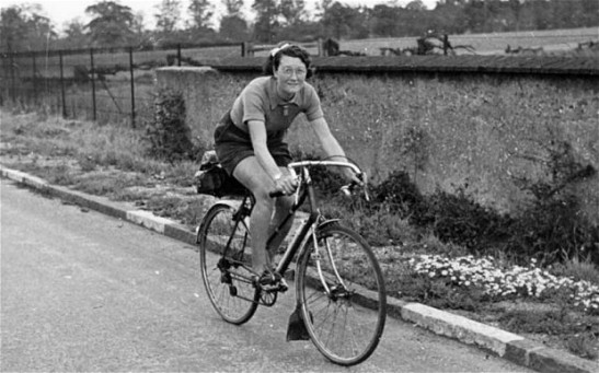 "Billie Fleming, ""Rudge Whitworth Keep Fit Girl"", on her record breaking ride in 1938 when she cycled 29,603 miles over 365 days"