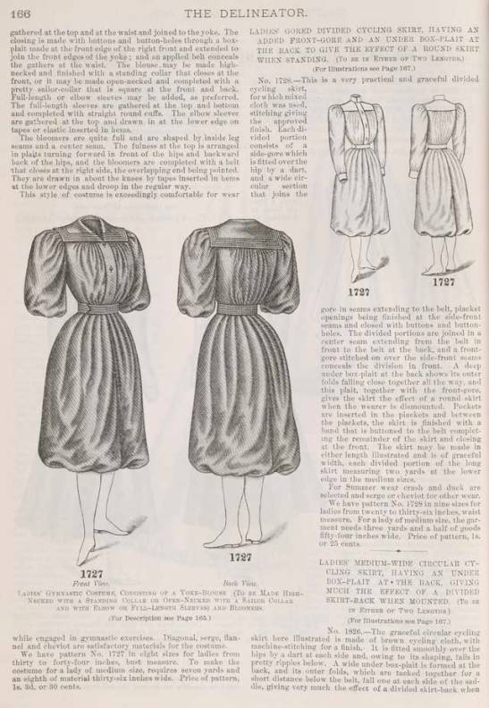 A cycling costume pattern from the pages of the Delineator