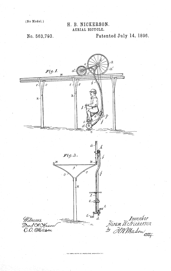 Hiram B. Nickerson's patent drawing for the Aerial Bicycle, US Patent 563793, July 14, 1896