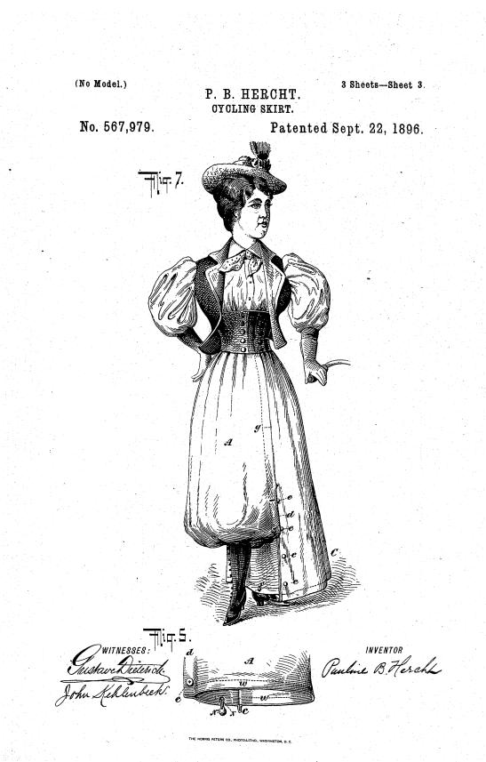 P. B. Hercht's cycling skirt patent, 1896