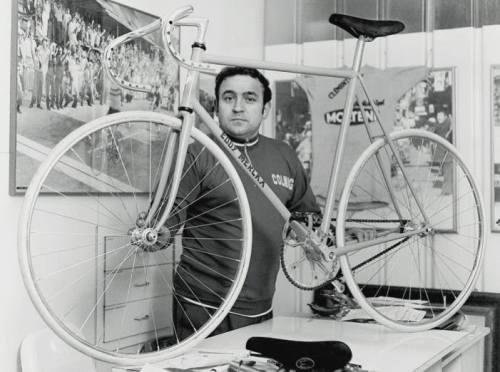 Ernesto Colnago with Eddy Merckx's Hour bike, 1972