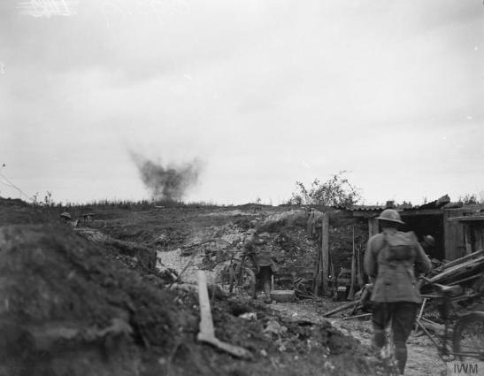 Battle of the St Quentin Canal (Saint-Quentin). A cyclist-messenger's dug-out near Bellicourt, 29th © IWM (Q 9349) September 1918.