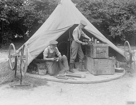 Armourers shop. Where rifles and bicycles are repaired (Tadworth Camp). © IWM (Q 33716)