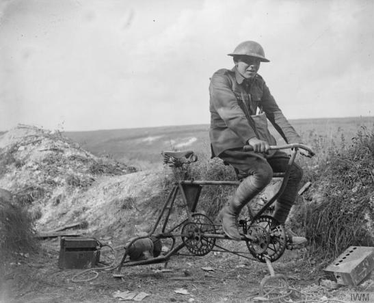 A tandem bicycle frame used by the Germans to generate electricity for wireless in the trenches. Moislains, 5 September 1918. © IWM (Q 7046)