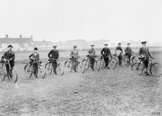 Cyclist despatch riders of the Wandsworth Home Defence Battalion, Wandsworth, London. © IWM (Q 53425)