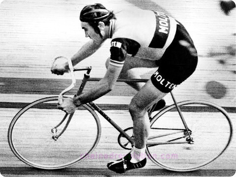 Eddy Merckx during his Hour, Olympic Velodrome, Mexico City, 1972