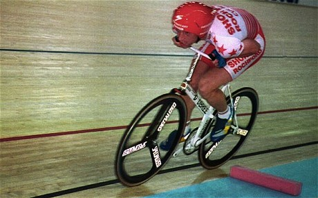Graeme Obree during his Hour at the Vikings, 1993