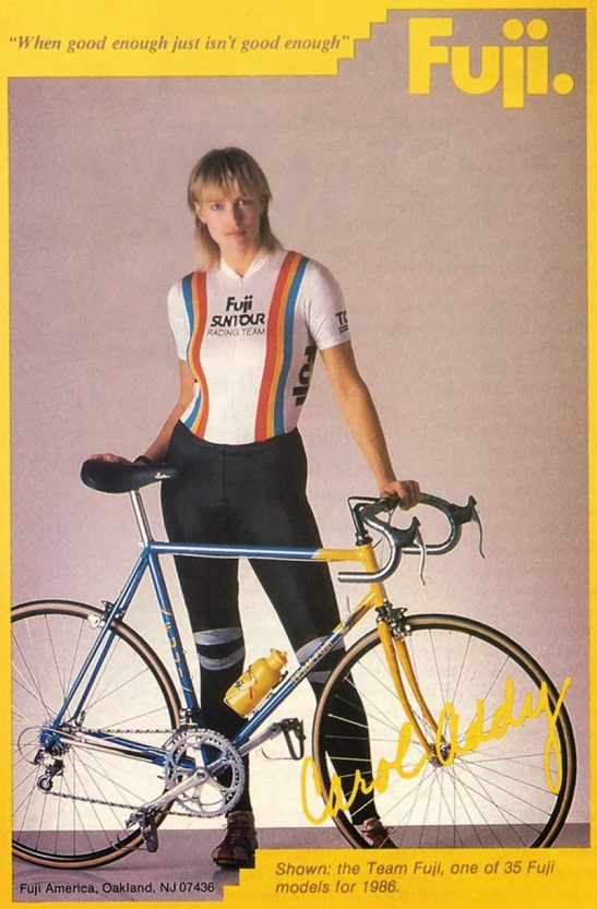 Fuji advert featuring Carol Addy, a US Women's National Team Cyclist, 1986