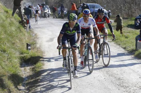 Alejandro Valverde leads Zdenek Stybar and Greg van Avermaet during the decisive breakaway in the 2015 Mens Strade Bianche. Bettini Photos