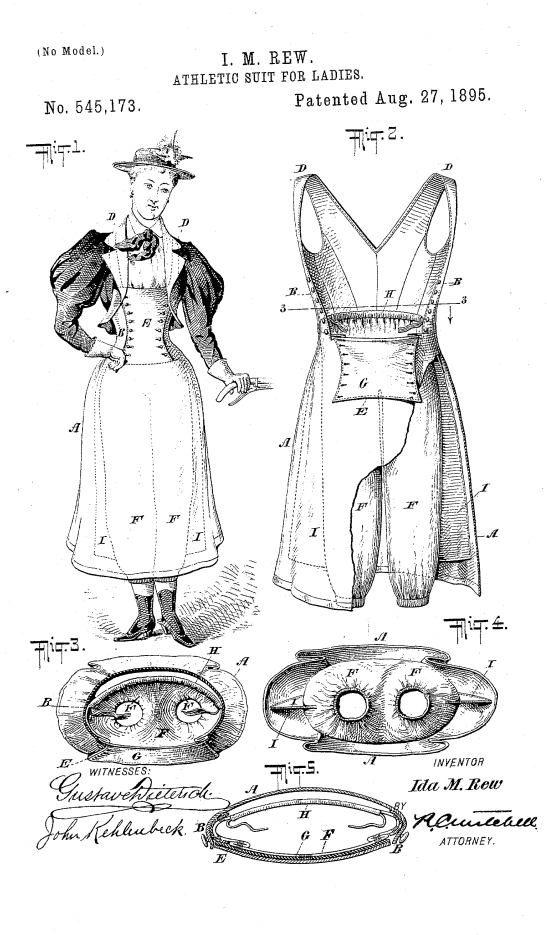 Ida M. Rew's Athletic Suit for Ladies, 1895. US Patent 545173