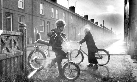 A boy on a Raleigh Chopper, 1970s