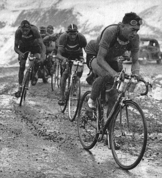 Bobet leads Bartali on the Coix de Fer