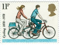United Kingdom 1978, 100 Years of Cycling, 11 pence stamp