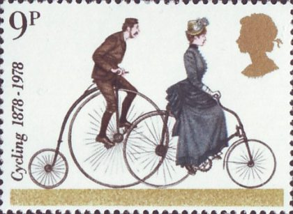 United Kingdom 1978, 100 Years of Cycling 9 pence stamp