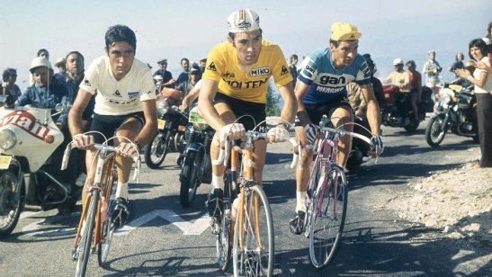 Luis Ocana, Eddy Merckx, and Raymond Poulidor on Mont Ventoux, 1972