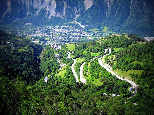 Some of the 21 hairpin bends on the climb to Alpe d'Huez. Photo: Clark Maxwell