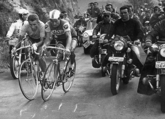 Jacques Anquetil and Raymond Poulidor battle for supremacy on the Puy de Dôme, 1964