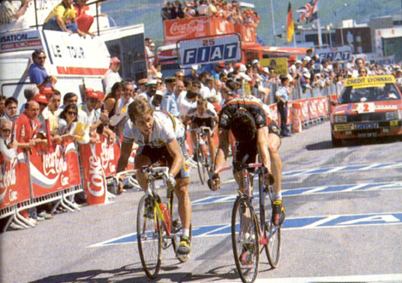 Gianni Bugno just pips Greg Lemond in the sprint for the line on Stage 11, St Gervais to Alpe d'Huez, 1990.