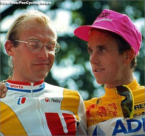 Laurent Fignon and Greg LeMond on the podium, 1989