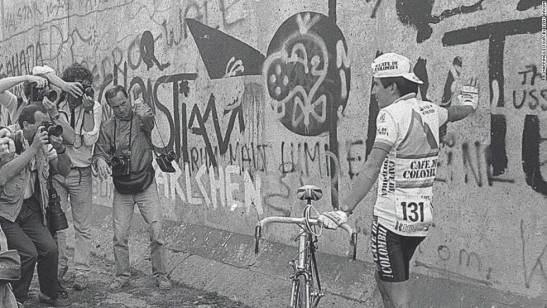 Luis Herrera at the Berlin Wall, 1987