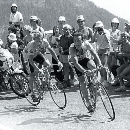Greg Lemond and Bernard Hinault on the Alpe d'Huez, 1986