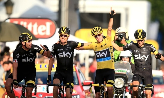 Chris Froome and Team Sky celebrate winning the 2015 Tour de France. Photo: Mike Egerton/PA