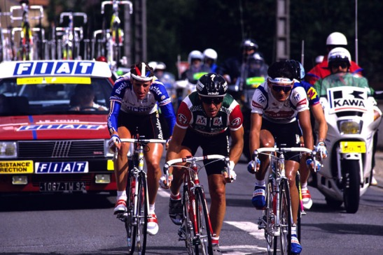 (l-r) Frans Massen, Steve Bauer, Claudio Chiappucci, and Ronan Pensec during the stage 1 breakaway