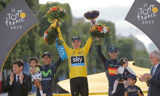 Nairo Quintana, Chris Froome, and Alejandro Valverde, Tour de France podium 2015. Photo: Laurent Cipriani/AP