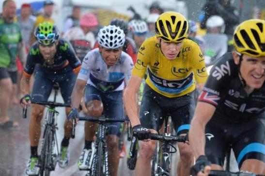 (l-r) Valverde, Quintana, Froome follow Thomas during stage 12, 2015