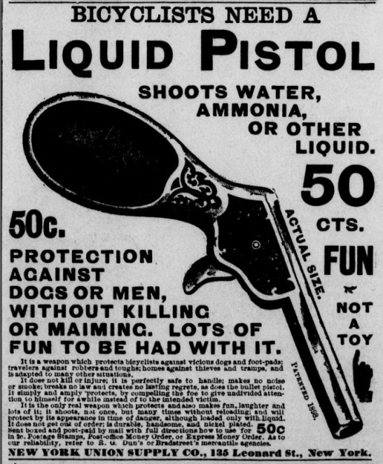 An advertisement for the Liquid Pistol from the Republican News Item (Laport, Pa.), 25 Aug. 1898.