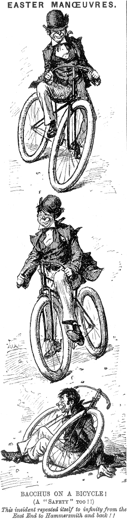 """Bacchus on a Bicyle"" from Punch, April 18, 1893."