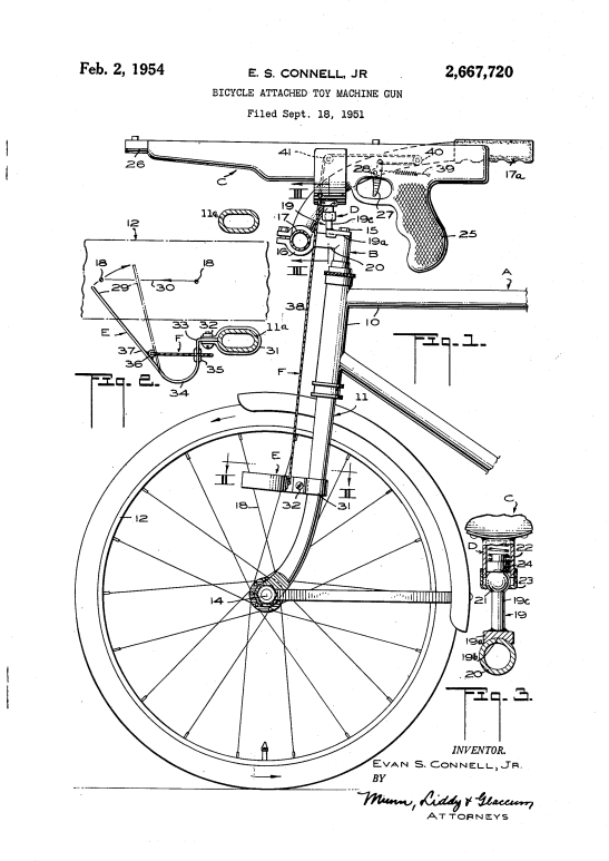 E. S. Connell Jr's bicycle mounted toy machine gun. US Patent 2,667,720