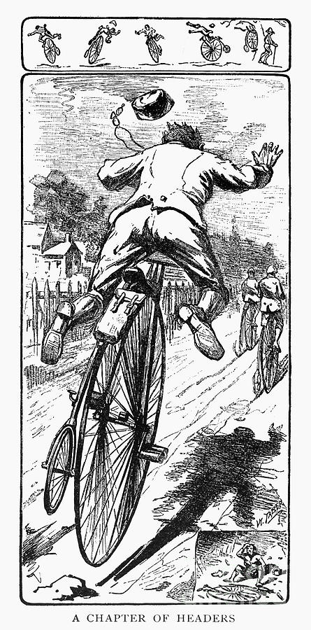 Bicycle race accident, 1880