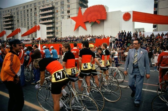 The East German team line up at the start of the Peace Race on Karl Marx Allee, East Berlin, 1974.