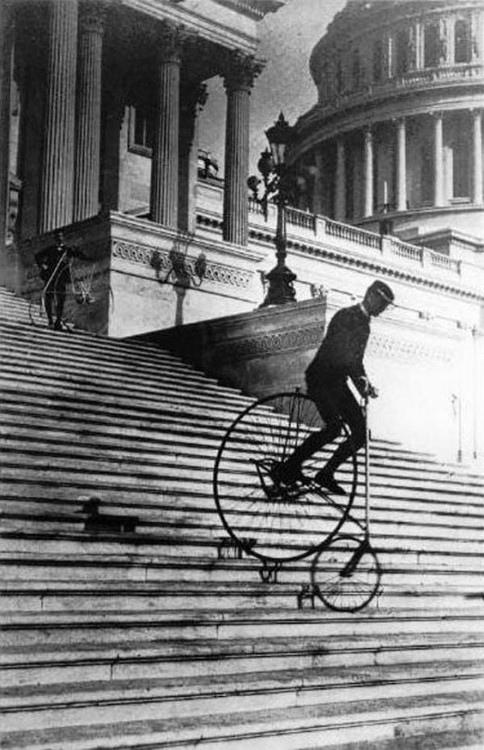 Will Robertson of the Washington Bicycle Club rides an American Star Bicycle down the steps of the United States Capitol in 1885.