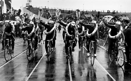 The Polish Team celebrate winning the 1974 Peace Race