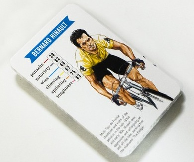 Bernard Hinault's card from Cycling Stars: A Trump Card Game.