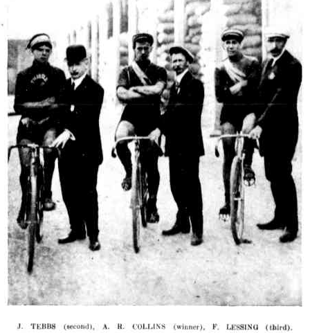 The first three finishers of the 1911 Warrnambool to Melbourne Road Race.