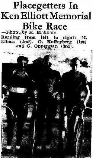 The 'podium' of the 1948 Ken Elliott Memorial Race (Source: The Dandenong Journal (Vic.), May 5, 1948)